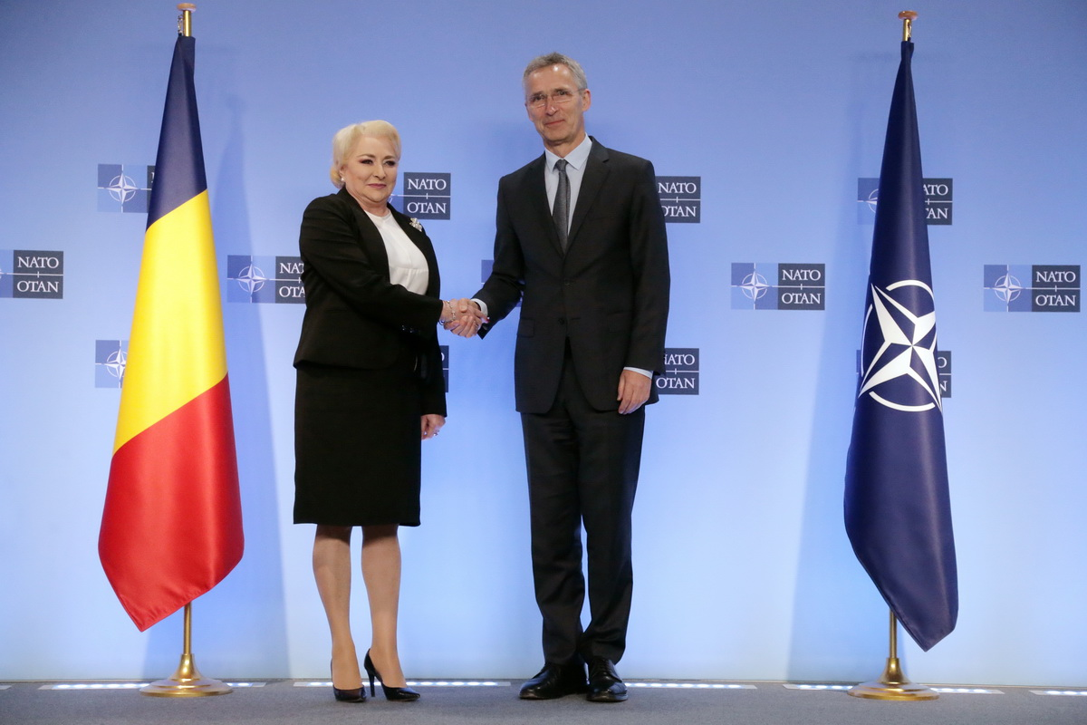 Prime Minister Viorica Dăncilă meets with NATO Secretary General Jens Stoltenberg at NATO Headquarters in Brussels