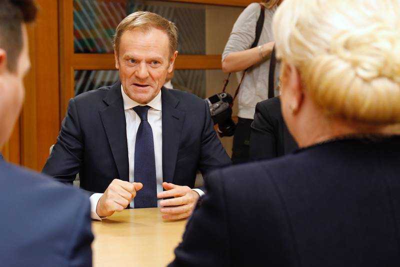 Donald Tusk, President of the European Council, meets Viorica Dăncilă, Prime Minister of Romania, on 7 February 2019, in Brussels
